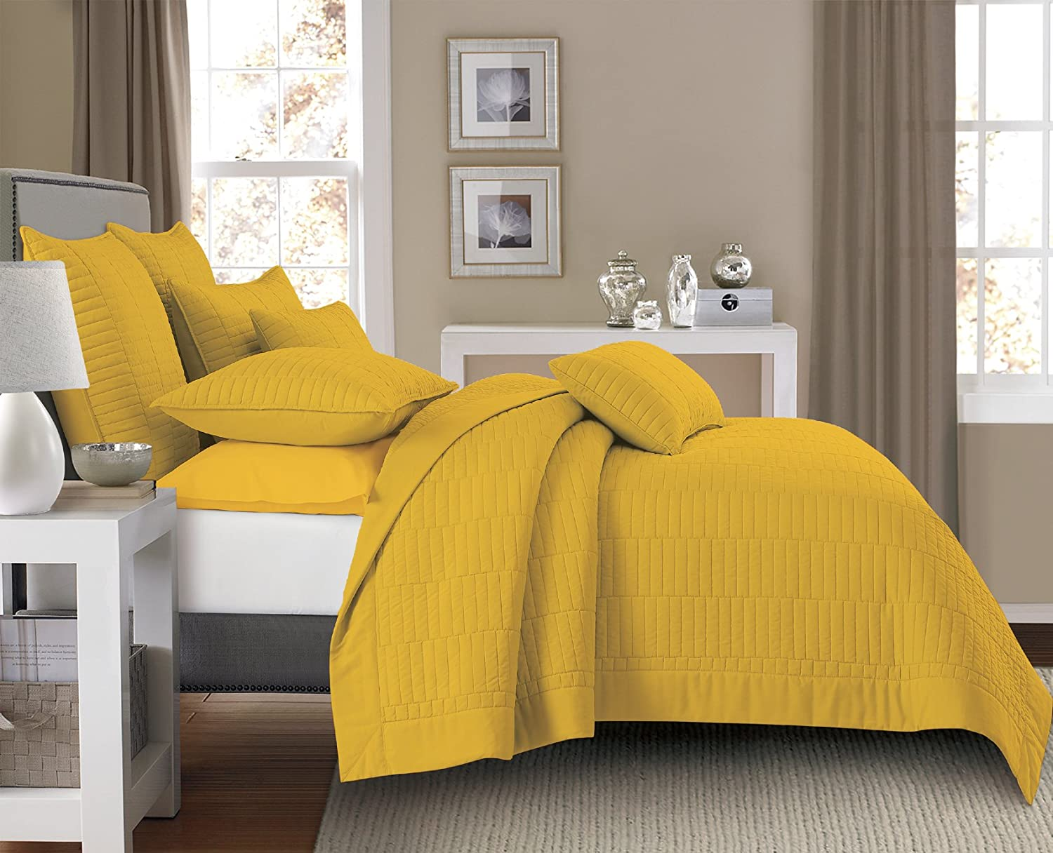 Lilly & Skye Gianna Quilt Set, King, Spicy Mustard