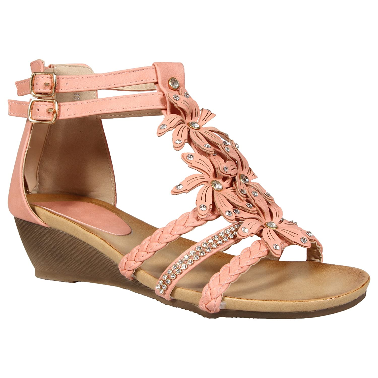 294014bf0aa3b0 LADIES WOMENS GLADIATOR STRAPPY WEDGE SANDAL SUMMER EVENING DRESS PARTY  SHOE DIAMANTE FLOWER FLORAL BEACH BUCKLE FASTENING CASUAL SANDALS LOW MID  HEEL ...