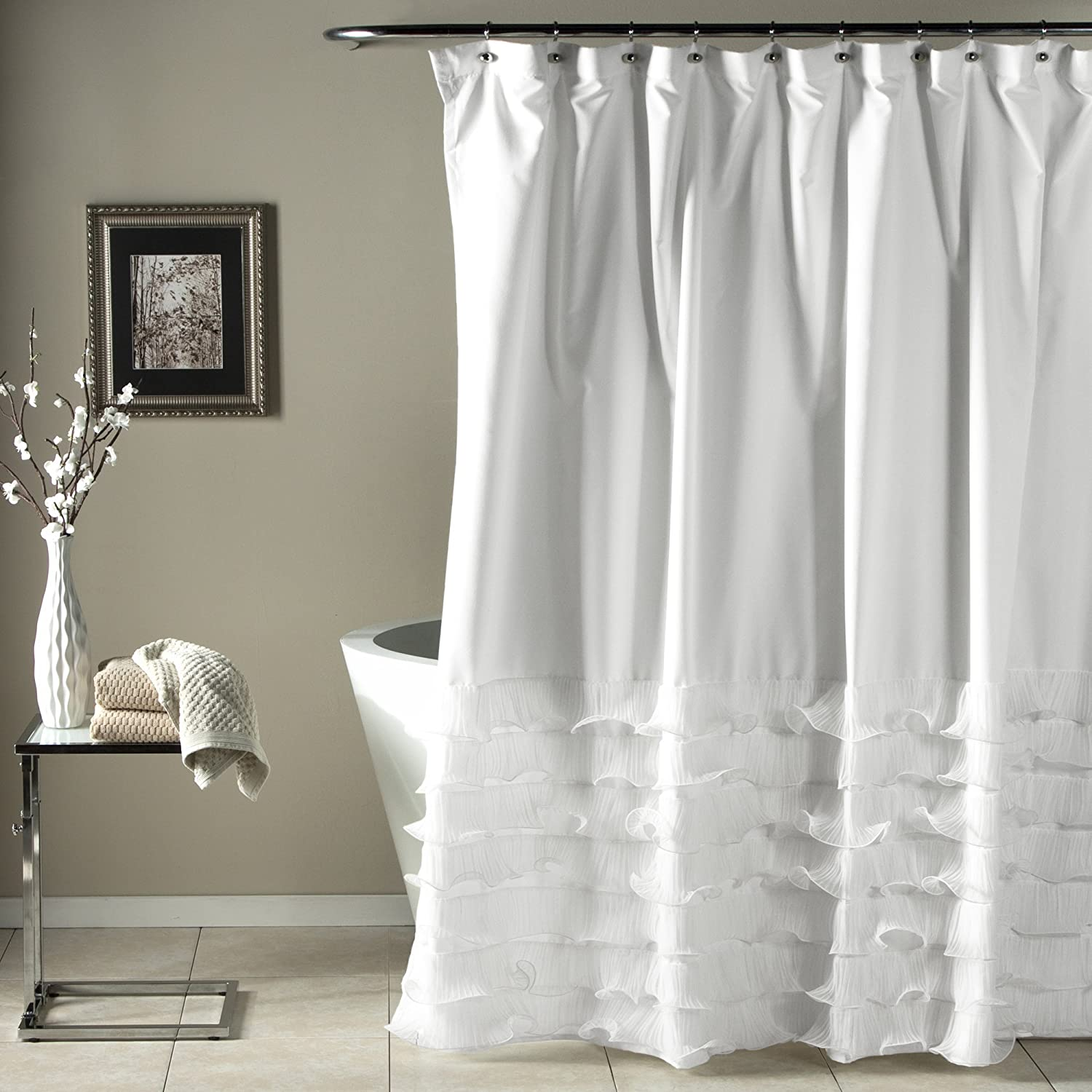 ruffle shower cotton white x measurements design curtains within waffle curtain ideas
