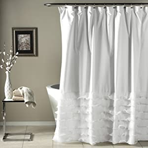 "Lush Decor Avery Shower Curtain Ruffled Shabby Chic Farmhouse Style Bathroom, 72"" x 72"" White"