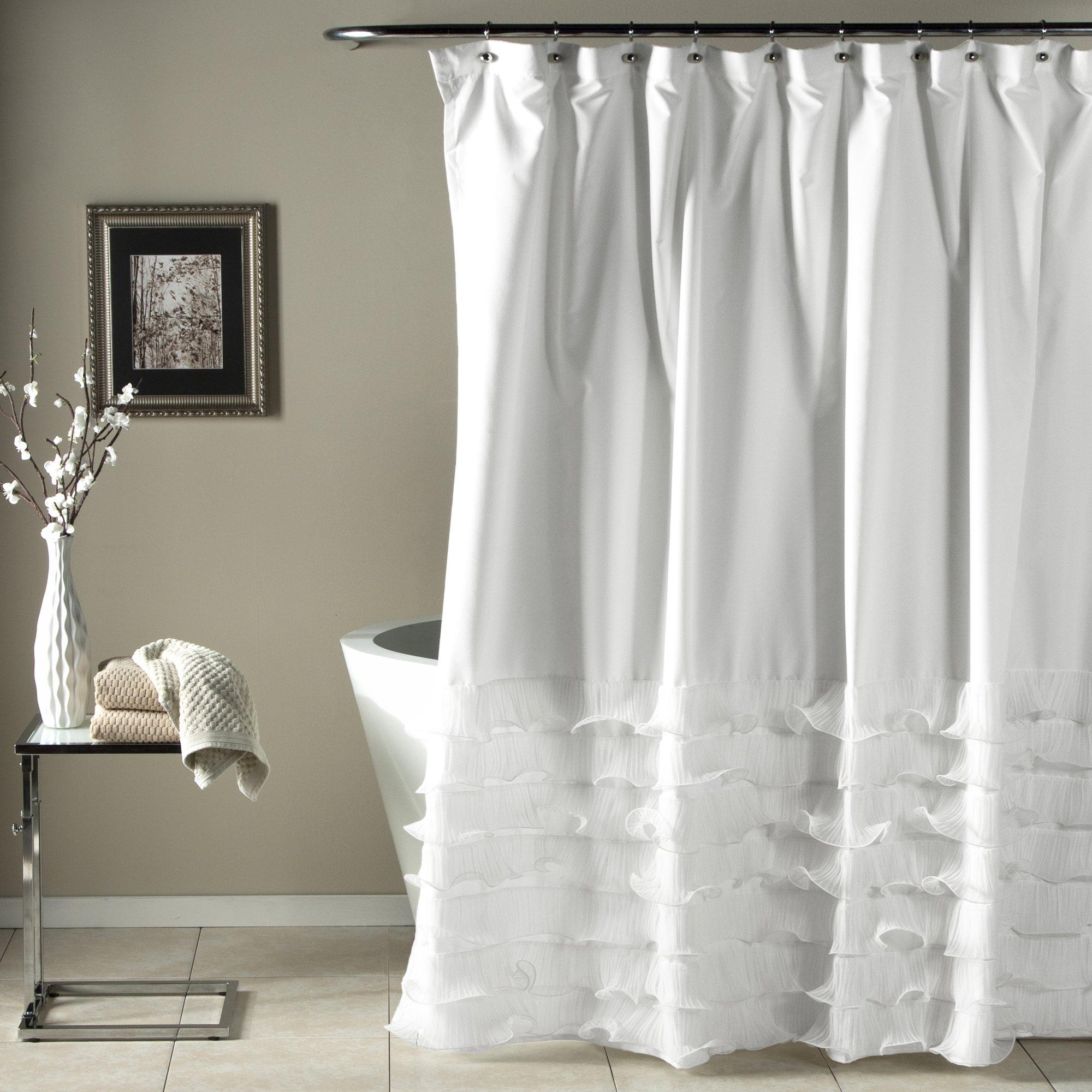 Lush Decor Avery Shower Curtain Ruffled Shabby Chic Farmhouse Style Bathroom, 72'' x 72'', White