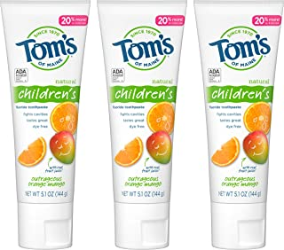 product image for Tom's of Maine Natural Children's Fluoride Toothpaste, Outrageous Orange Mango, 5.1 oz. 3-Pack