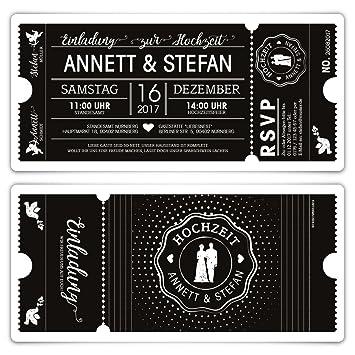 Schön 30 X Hochzeit Einladungen Einladungskarten Schwarz Weiß Ticket Eintritt  Schwarze Version