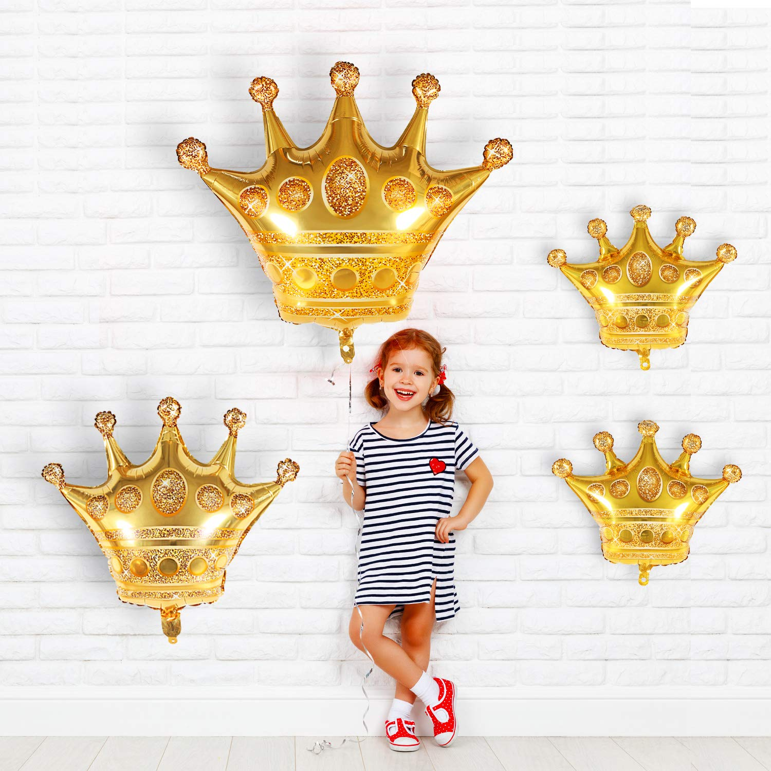 4 Sizes meekoo 10 Pieces Gold Crown Balloons Aluminum Foil Crown Balloons for Baby Shower Wedding Birthday Party Accessories