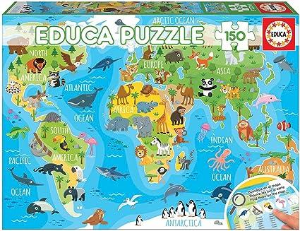 Educa- Mapamundi Animales Puzzle Infantil de 150 Piezas, a Partir ...