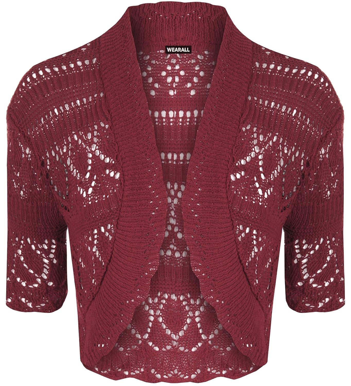 WearAll Women's Crochet Knitted Short Sleeve Bolero 40339
