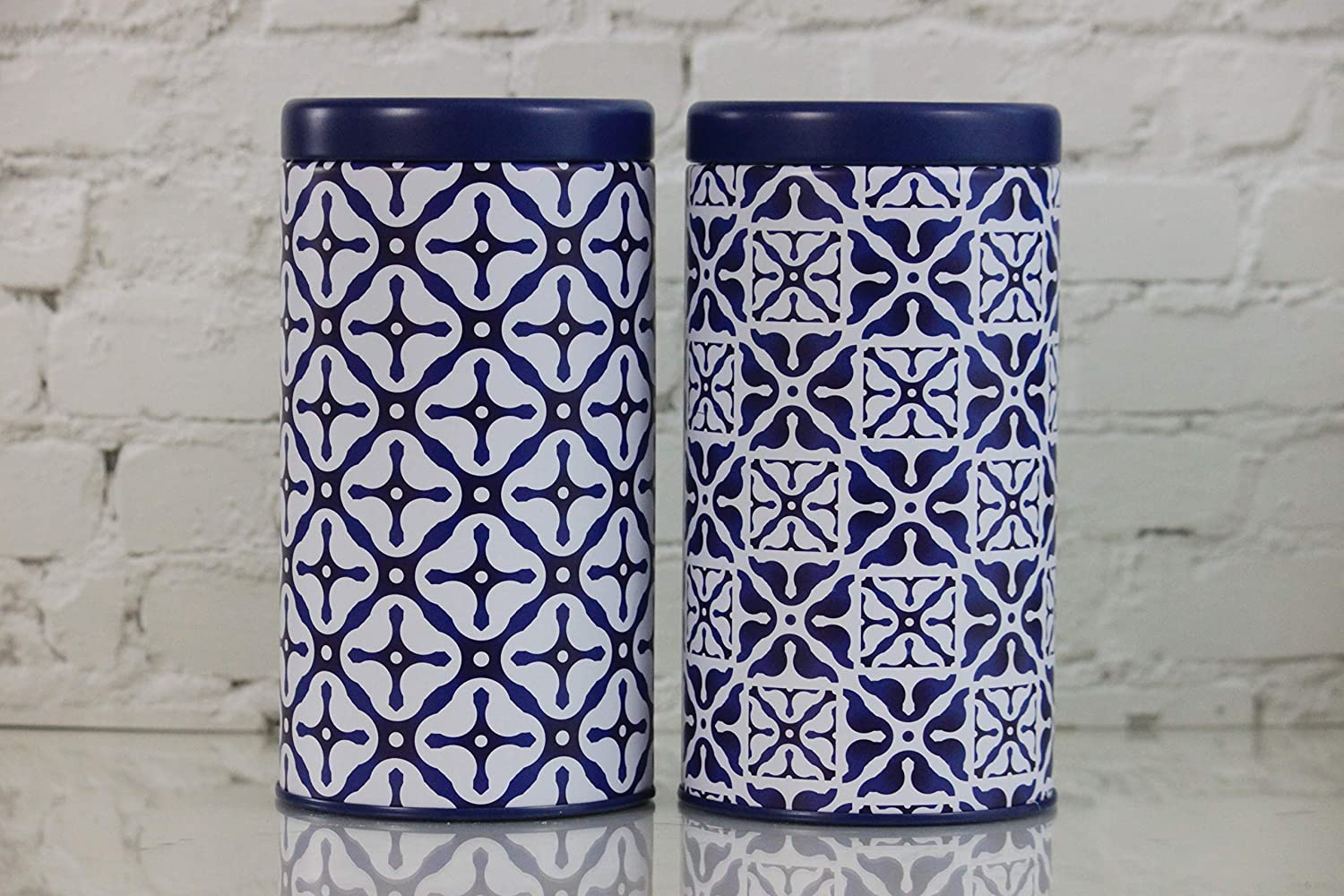 Tea Tin Storage Blue Design Set of 2.Air tight Lid. Tea, Coffee, Food Storage.Loose Leaf tea. Size 3.38 X 6.29 inches. Beautiful Matte Finish