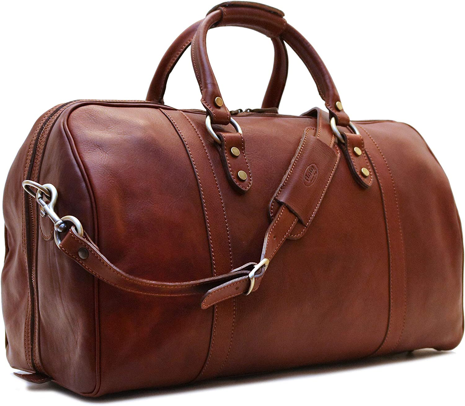 Floto Roma Cabin Bag Saddle Brown Italian Leather Weekender Duffle