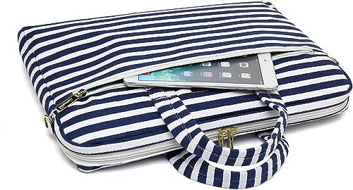 Canvaslove Laptop Umhangetasche mit bretonischem Muster wasserdicht mit Ruckprallblasenschutz fur Laptops mit 14 15 6 Zoll 35 6 39 6 cm