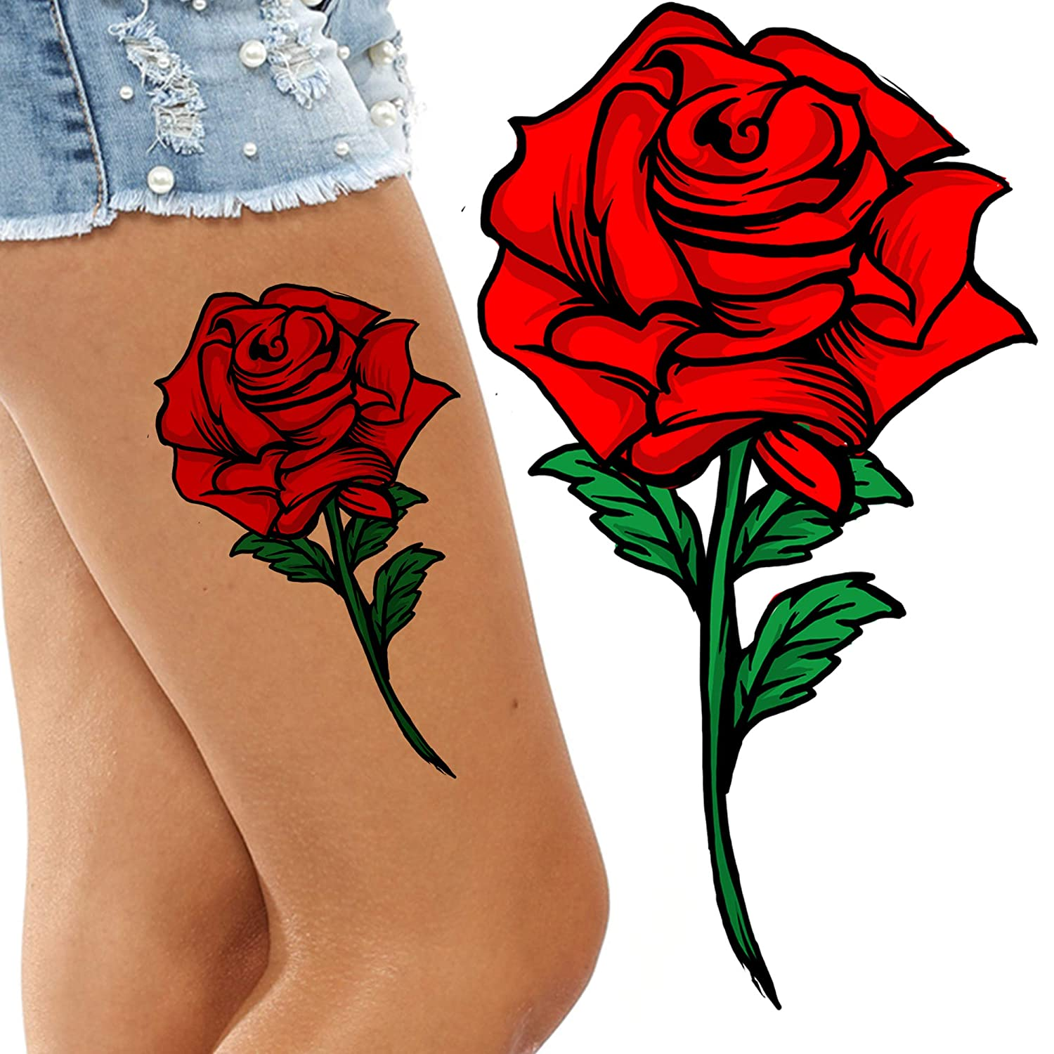 Amazon Com Stick On Flower Retro Vintage Red Rose Tattoo Adult Temporary Tattoo Sticker Female Body Art Transfers Women Realistic Waterproof Flora Temp Tattoo Legs Arms Belly Festival Halloween Beauty These amazing rose tattoo designs will go well with your image and preferences. stick on flower retro vintage red rose