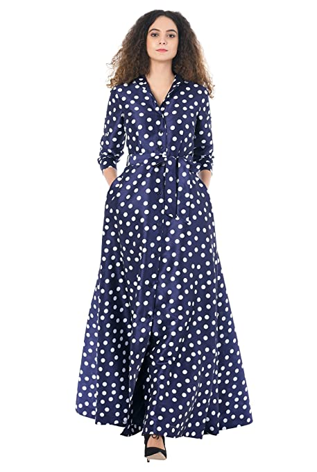 1940s Evening, Prom, Party, Cocktail Dresses & Ball Gowns eShakti Womens Polka dot print dupioni maxi shirtdress $74.95 AT vintagedancer.com