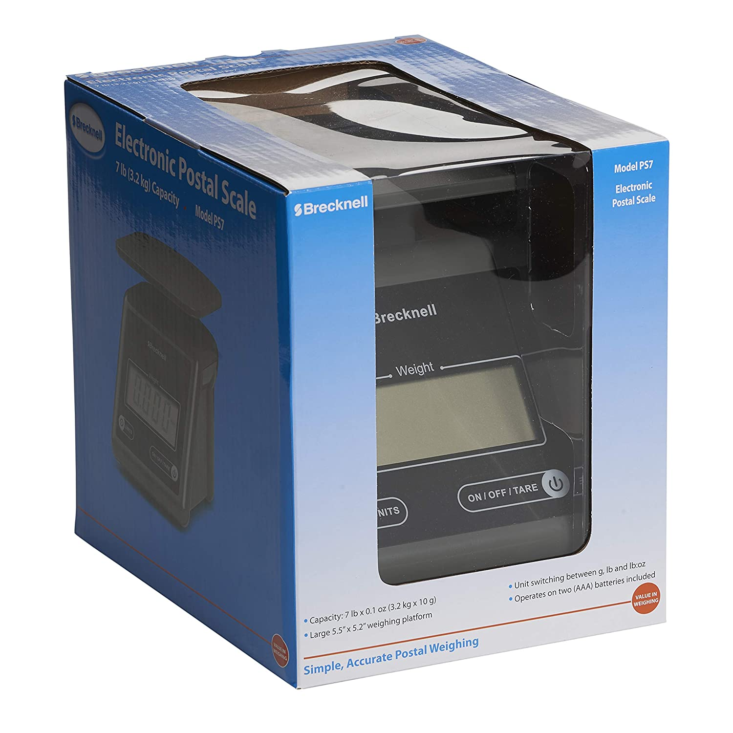 e7b9556e3104 Brecknell Electronic Postal Scale, 7 Lbs Capacity, 6-4/5 x 5-3/5 Inches  Platform, Gray (PS7)
