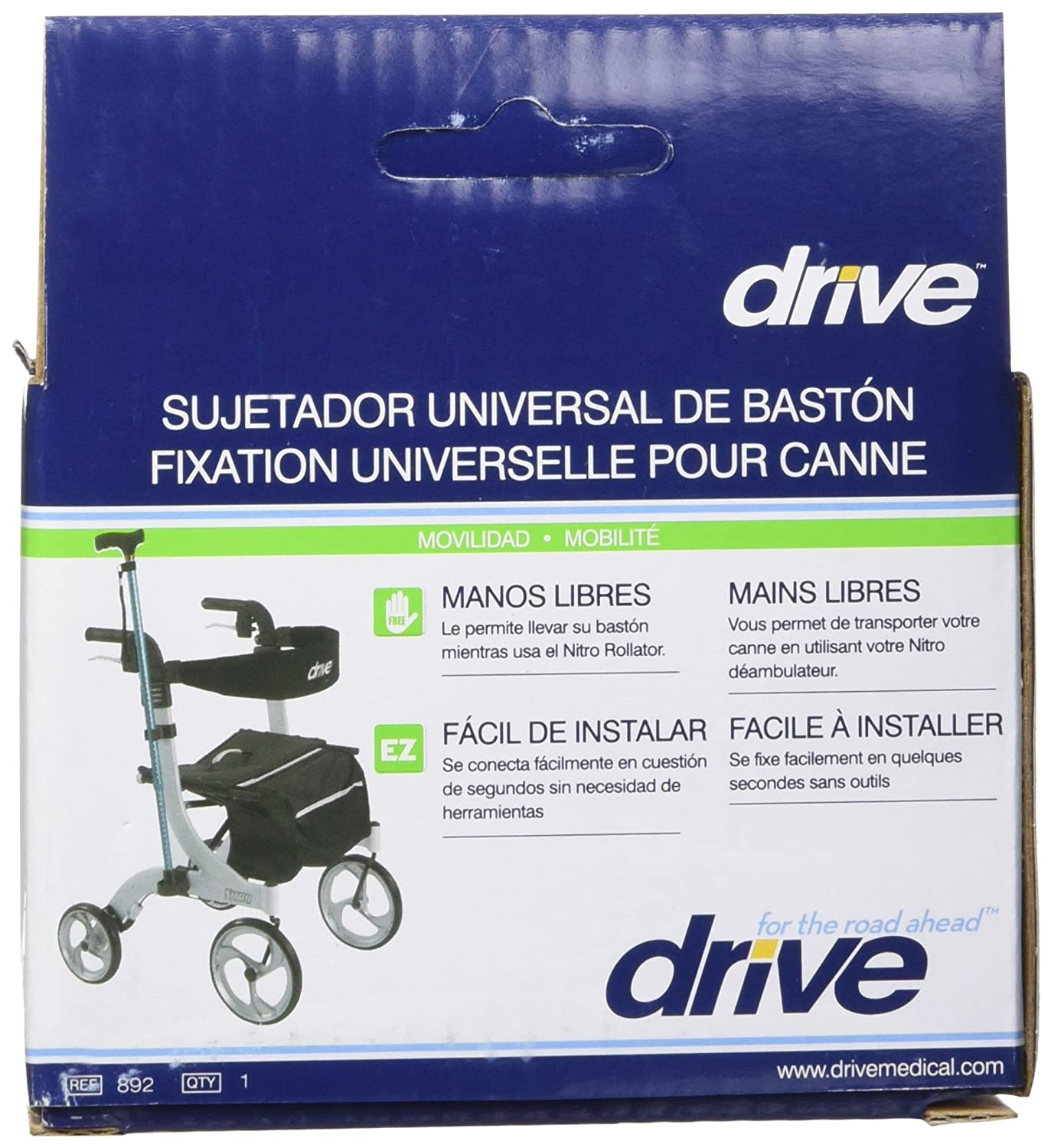 Amazon.com: Drive Medical Nitro Rollator Cane Holder, Black: Health & Personal Care