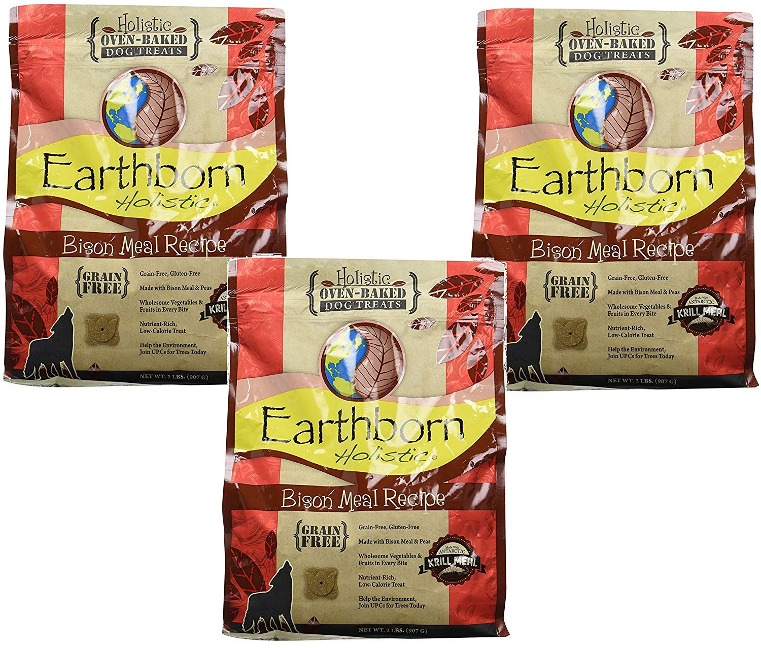 Earthborn Holistic Bison Meal Recipe Holistic Oven-Baked Dog Treats (3 Pack / 2 Pounds Per Pack)