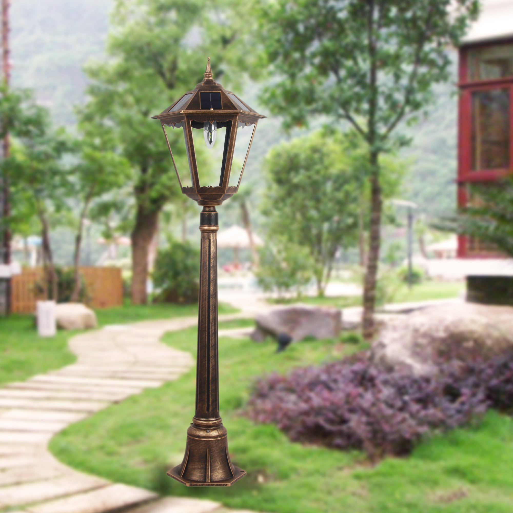 4 Foot Outdoor Solar Powered Lamp Post With