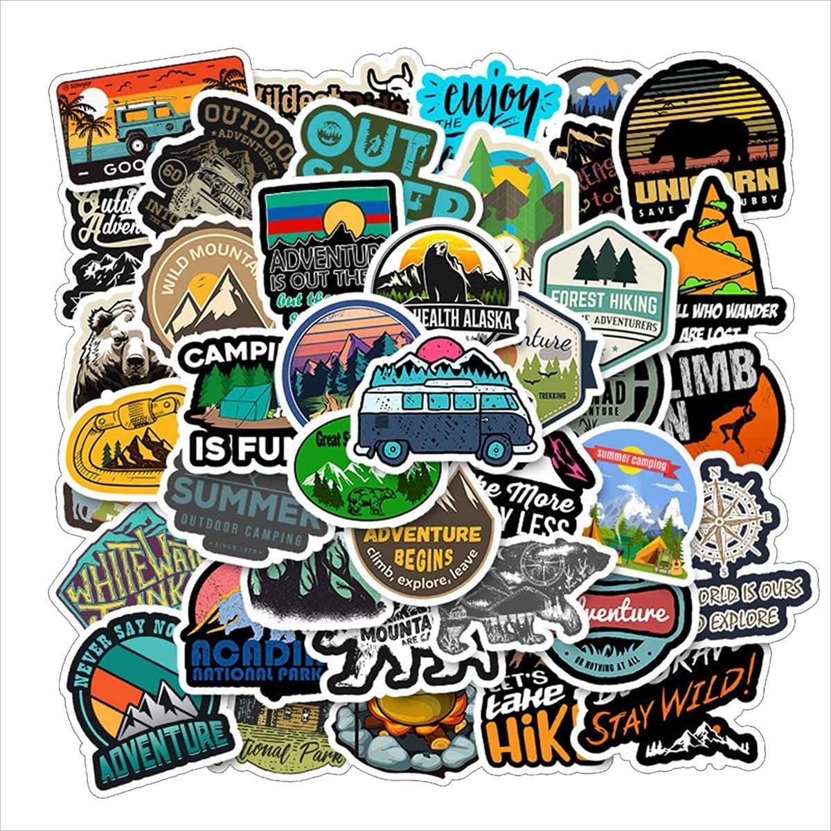 Outdoor Stickers 50PCS Nature Mountain Stickers Camping Adventure Climbing Stickers Skiing Wilderness Hiking Stickers Waterproof Vinyl Decals for Laptop Water Bottles Skateboard Bumper Phone Car Bike