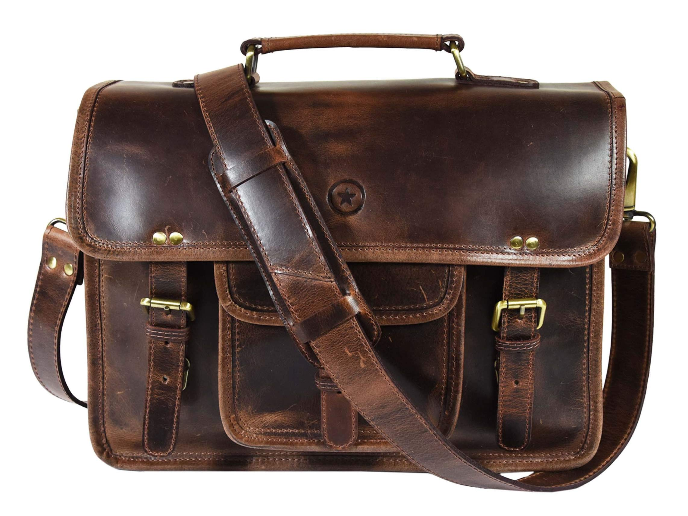 15 Inch Leather Vintage Crossbody Messenger Satchel Bag By Aaron Leather