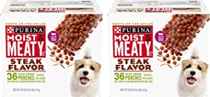 Purina Moist & Meaty Wet Dog Food, Steak Flavor - 36 ct. Pouch 2 Pack
