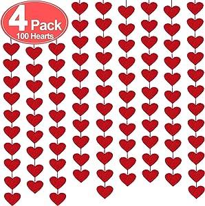 100 Hearts Felt Garland Valentines Day Red Heart Hanging String Garland 4Pack (Each 10ft) Valentines Day Decorations Wedding Anniversary Festival Birthday Home Windows Background Party Supplies