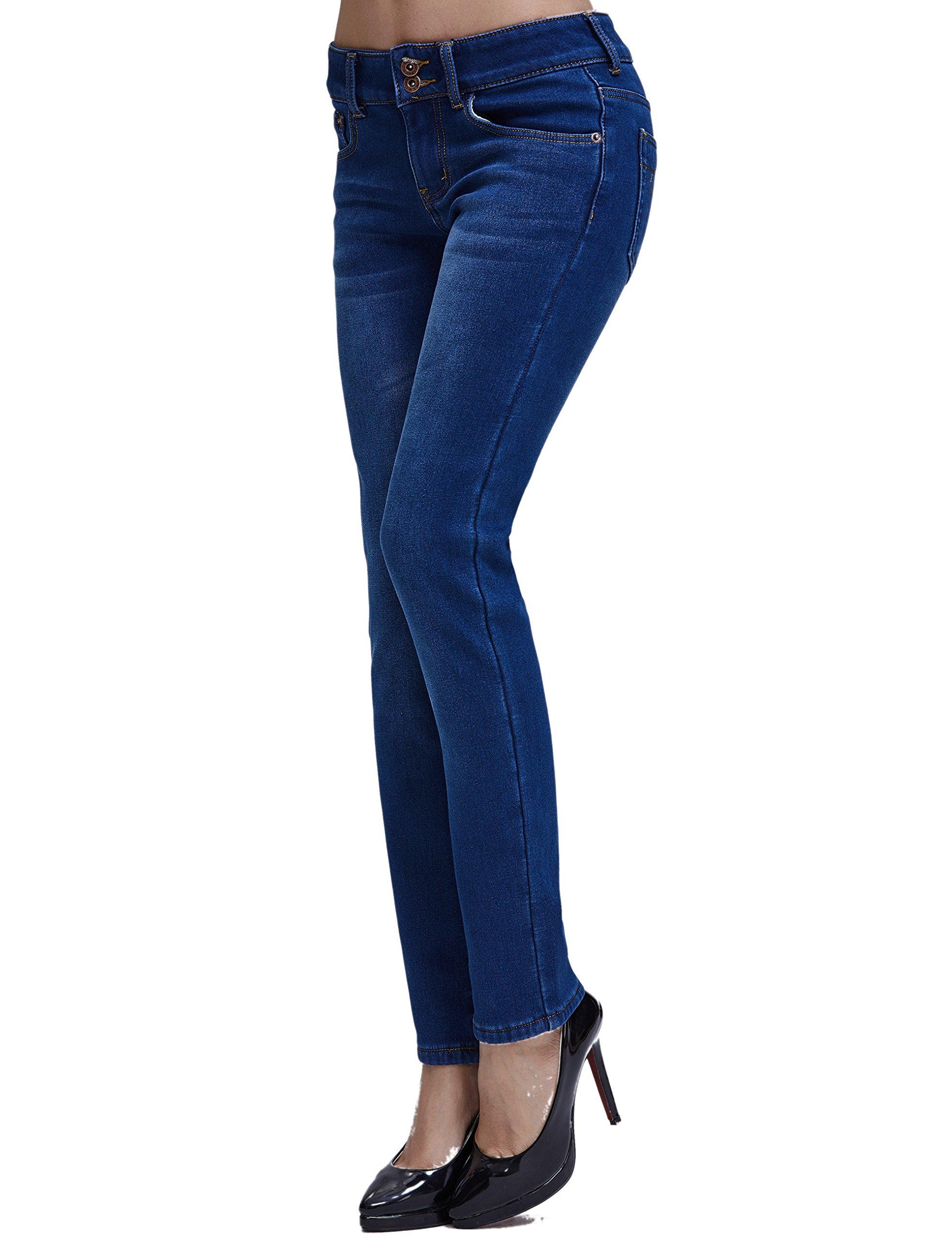 Camii Mia Women's Slim Fit Fleece Lined Jeans (W27 x L30, Blue (New Size)) by Camii Mia (Image #4)