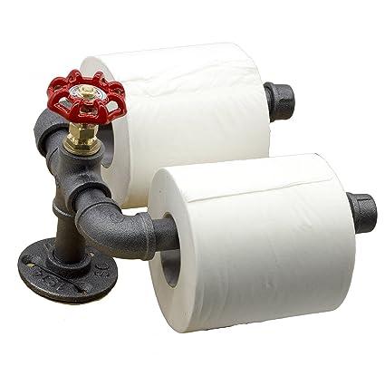 y-nut Industrial Vintage Steampunk doble de papel higiénico, inodoro dispensador de rollo de