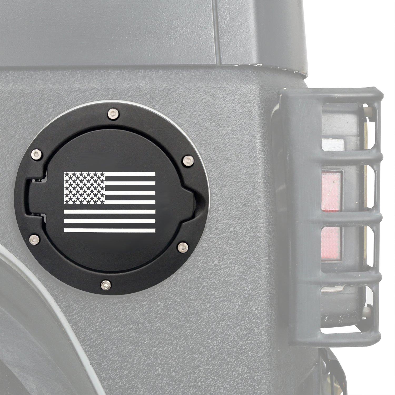 Hooke Road Black US American Flag Gas Cap Gas Tank Cover for 2007-2018 Jeep JK Wrangler /& Wrangler Unlimited JK