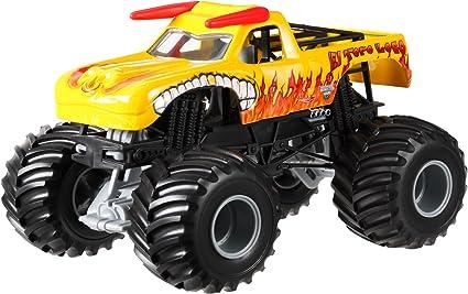 Amazon Com Hot Wheels Monster Jam El Toro Loco Yellow Die Cast Vehicle 1 24 Scale Toys Games
