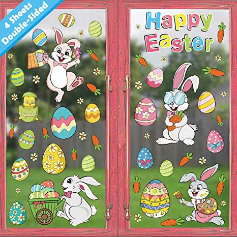 Easter Wall Stickers Window Fridge Clings Decals Decorations for Kids Room Living Room Home Nursery School Party Decoration Holiday Supplies,4 Sheet Risshine Easter Eggs Bunnies Wall Decal