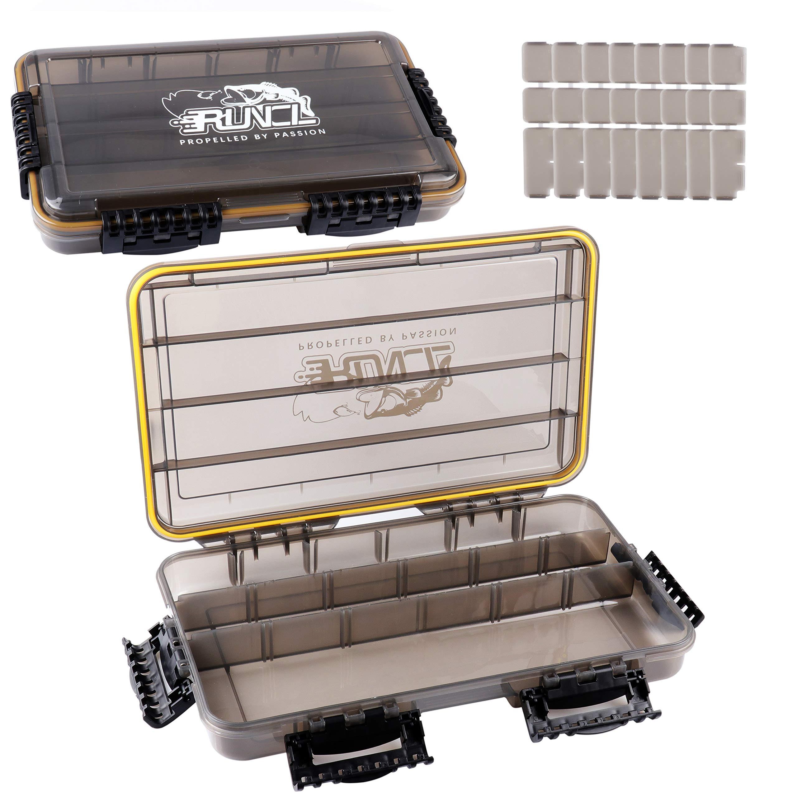 RUNCL Fishing Tackle Box, Waterproof Storage 14'' L x 8.65'' W x 2.15'' H - Thicker Frame, 360° Waterproof Seal, Secure-Locking Latches, Sun Protection, Removable Dividers - Storage Organizer (Pack of 2) by RUNCL