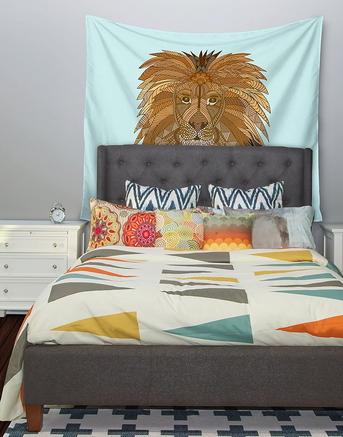 51 X 60 Kess InHouse Art Love Passion Lion Blue Brown Wall Tapestry