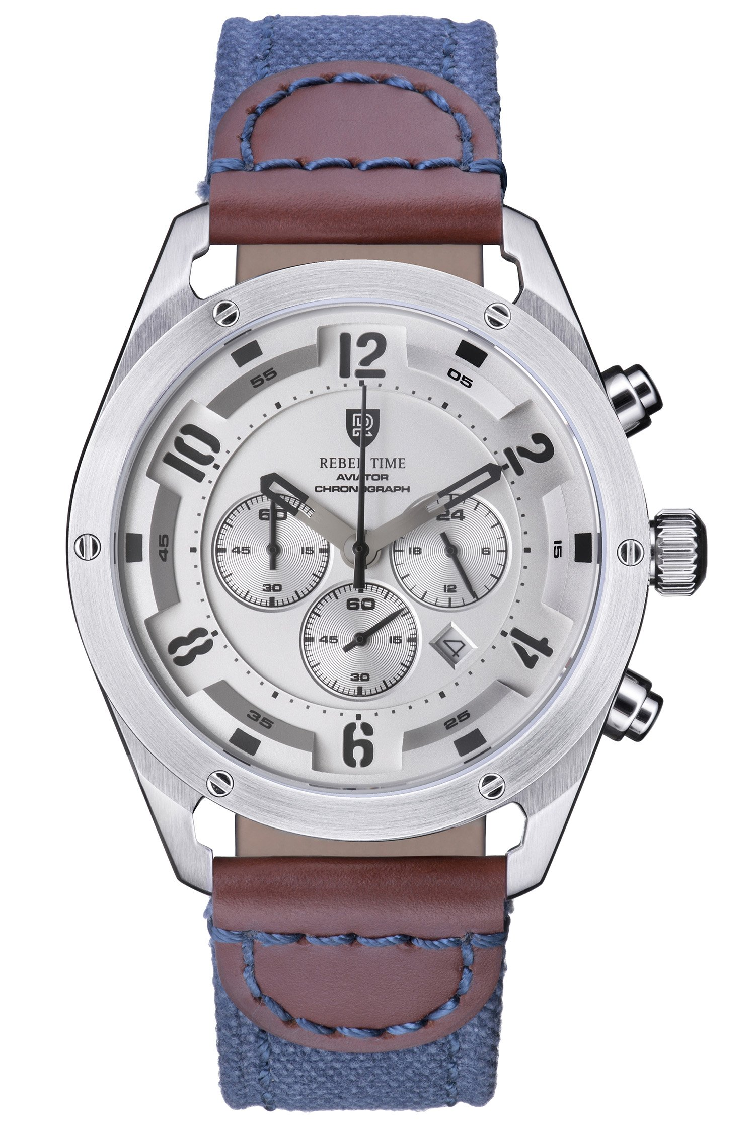Rebel Men's Aviator Silver Stainless Steel Chronograph Pilot Watch 100 Meter WR