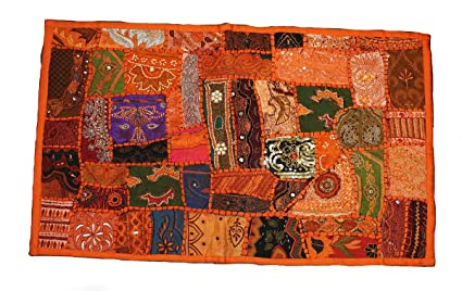 3f22e27c0399 Amazon.com  Pillow Cover or Use As Table Runner Beaded Indian Pillow ...