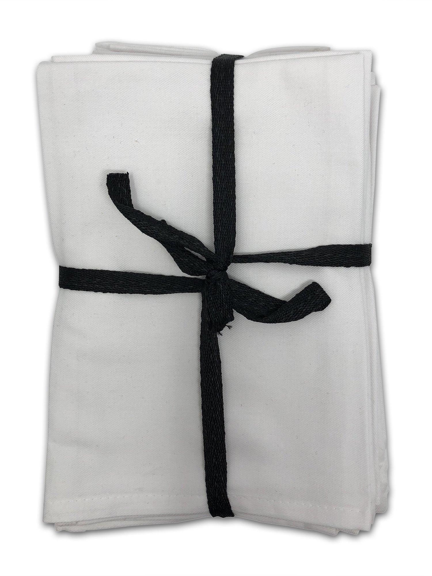 MoLi Products 100% Egyptian Cotton Cloth Dinner Napkins 12 Pack Lunch Linen – Decorative Reusable Fabric Table Linens Servilletas de Tela Restaurant Wedding Luncheon Napkin (White)