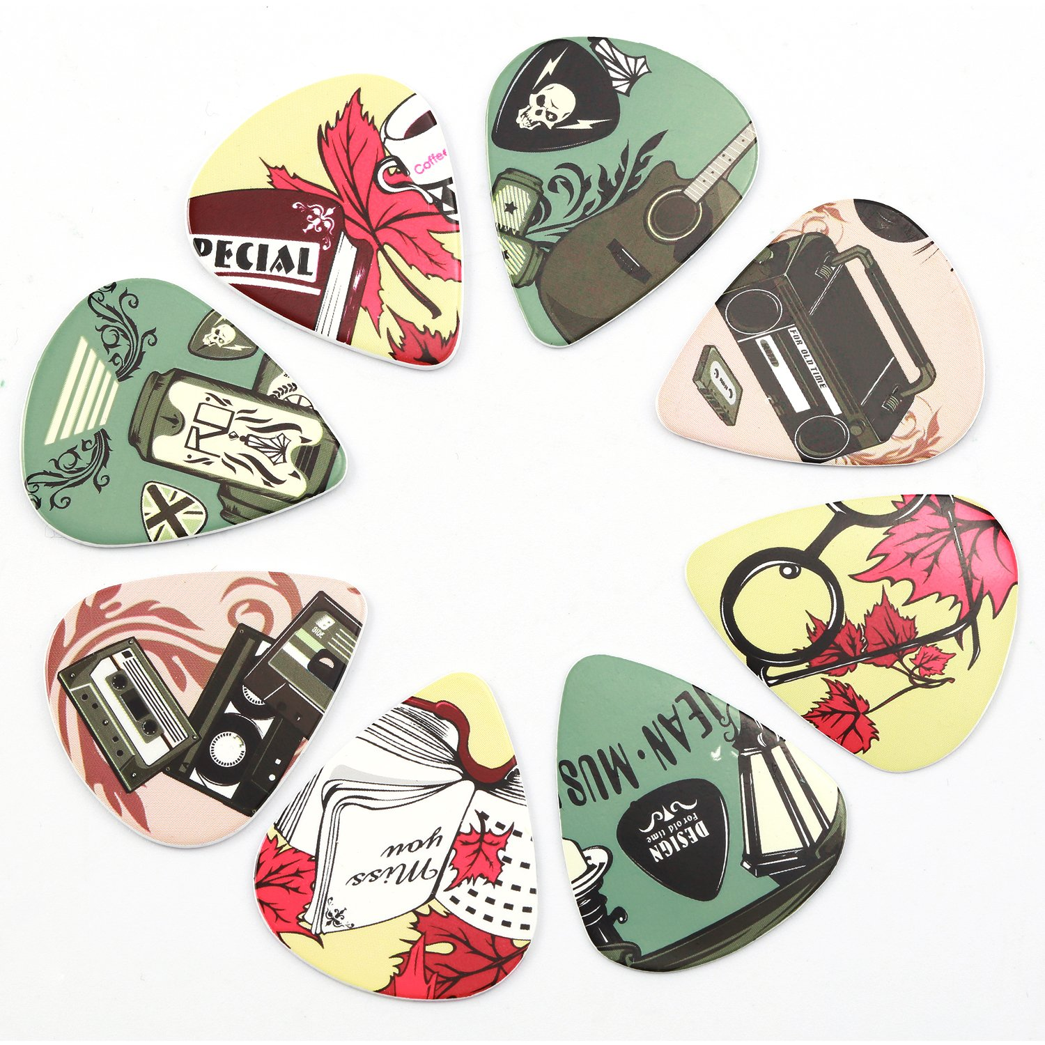 Medium Donner Nostalgia Celluloid Guitar Picks with Key Chain Pick Holder 16 Pack Includes Thin Heavy /& Extra Heavy Gauges