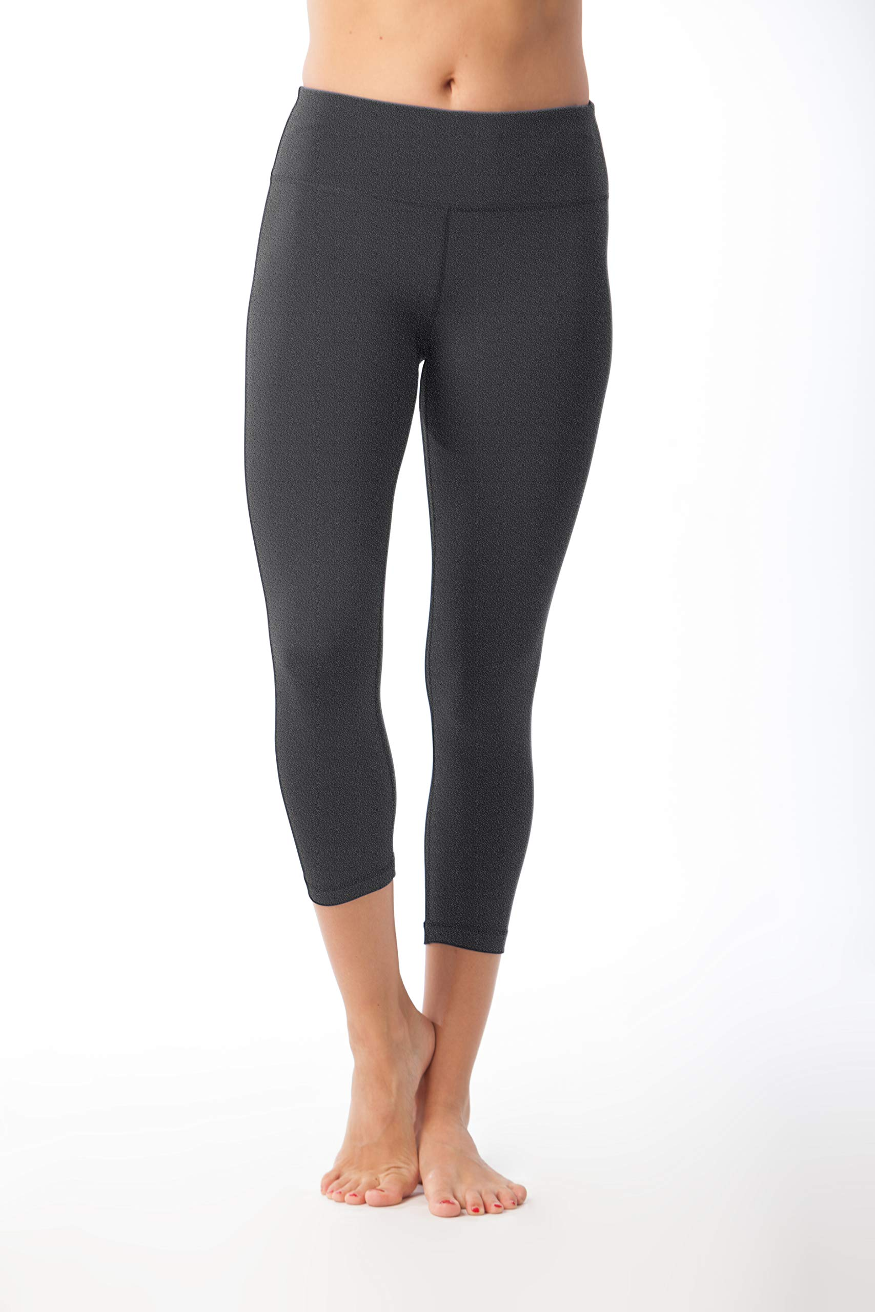 90 Degree By Reflex – Power Flex Yoga Capri – Cationic Heather Activewear Pants - Heather Charcoal XS