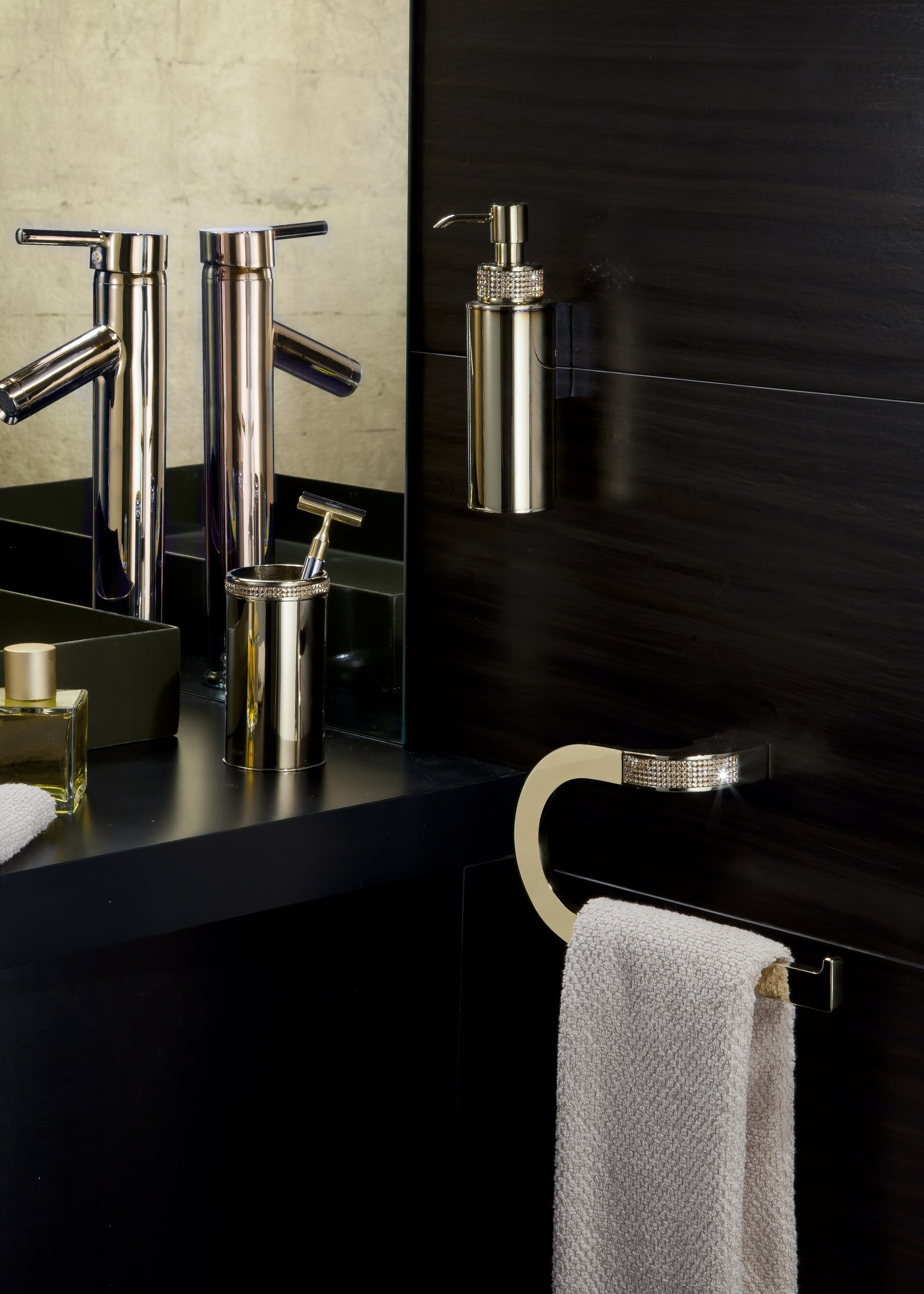 Cecilia Luxury Gold Swarovski Crystals Small Towel Ring, Limited Edition by Secret Bath (Image #2)