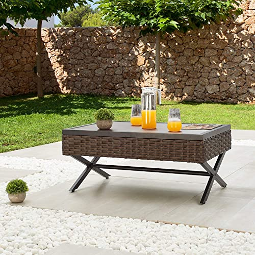 Festival Depot Metal Outdoor Side Coffee End Table Patio Bistro Living Room Dining Table Wood Grain Top Wicker Rattan Furniture with X Shaped Steel Legs Brown Black Rectangle