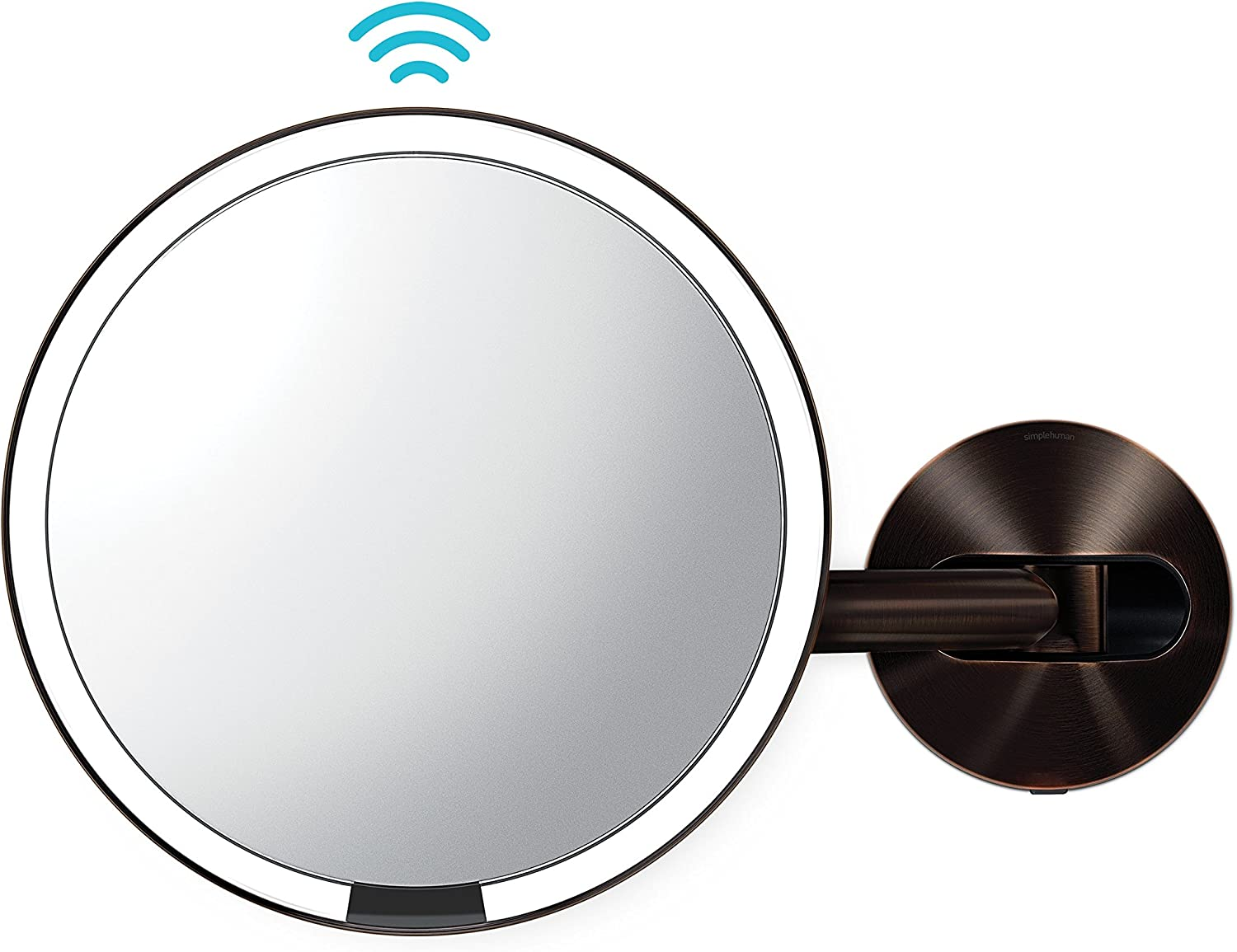 simplehuman Sensor Wall Mount Makeup Mirror, Dark Bronze Steel