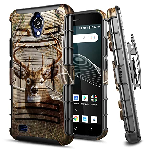 huge discount 3b596 b4c6b AT&T AXIA Case, E-Began Belt Clip Holster with Kickstand Protective Hybrid  Cover Heavy Duty Armor Defender Shockproof Rugged Case for AT&T AXIA ...