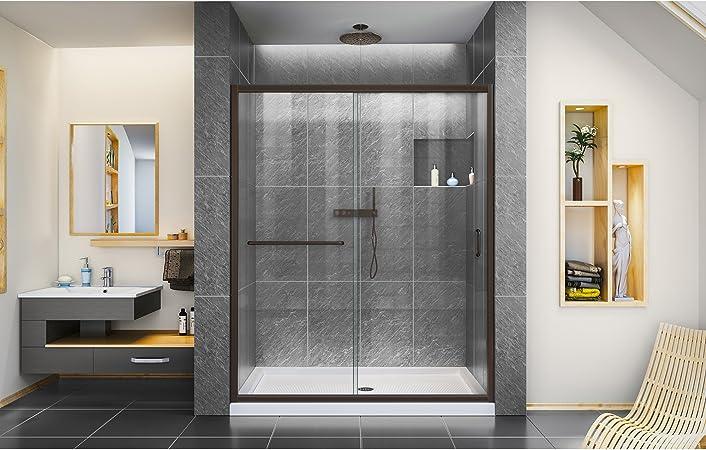 Dreamline Infinity Z 56 60 In W X 72 In H Semi Frameless Sliding Shower Door Clear Glass In Oil Rubbed Bronze Shdr 0960720 06