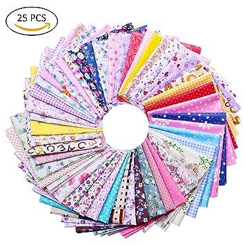 TankerStreet 25 Stück Baumwolle Stoff Patchwork Textil Craft Fusseln ...