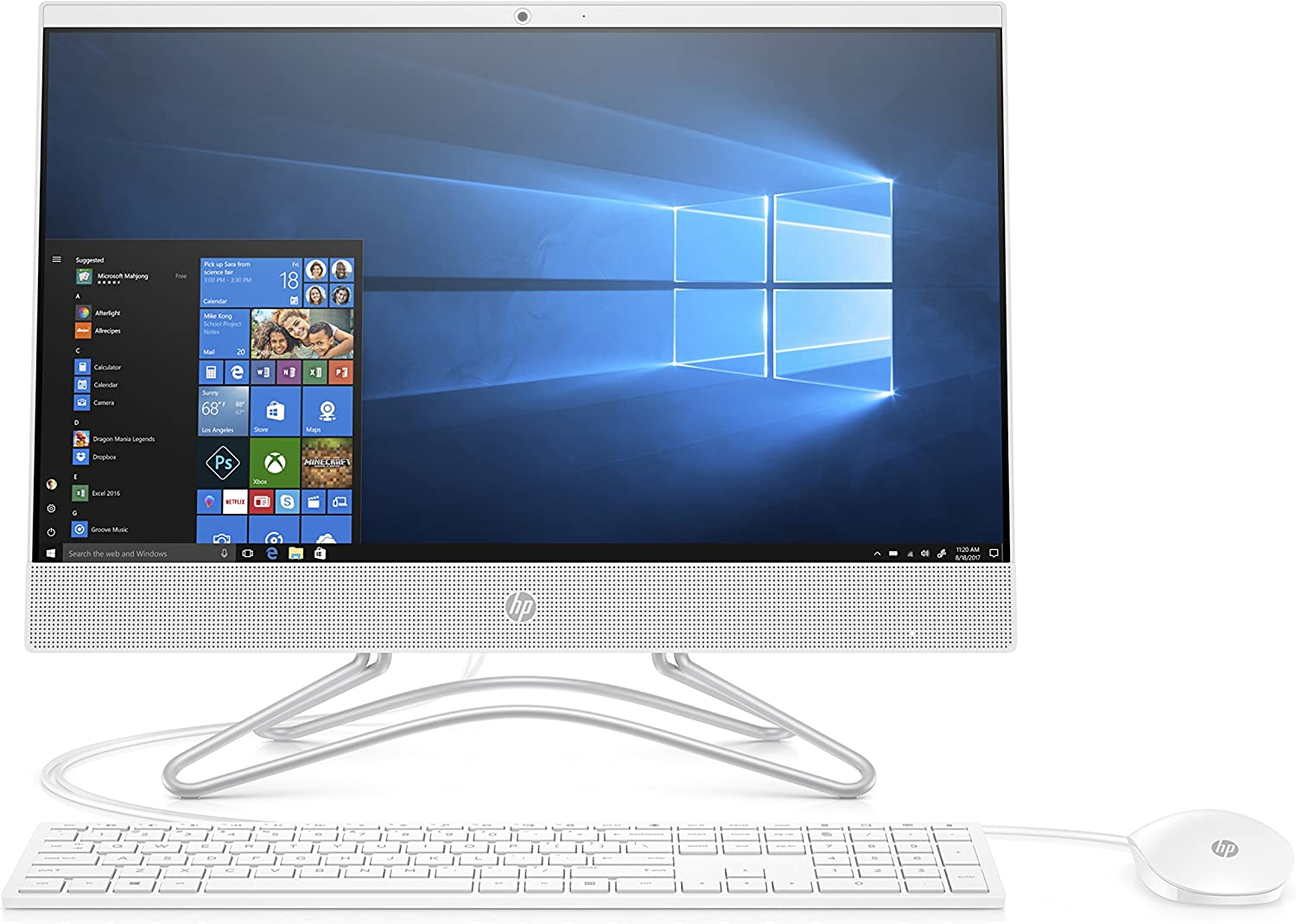 'HP Desktop PC, Intel Core i3 – 8130u, 8 GB de RAM, SATA de 1 TB, Pantalla de 21.5 FHD IPS WLED, Blanco
