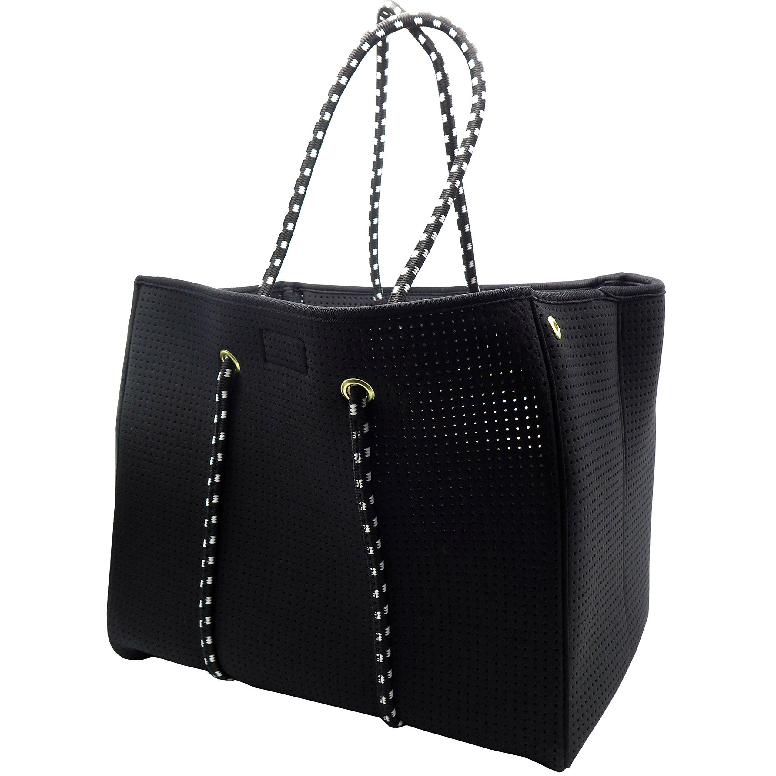 Neoprene Beach Bag tote - Large Daily Mesh Bag by Penn & Soph (Black)