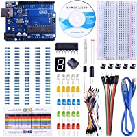 147-Pieces UNIROI UNO Arduino Starter Kit with Free Tutorials, UNO R3 Board, Breadboard, Sensor, USB Cable, Display, Resistors, Jumper and Dupont Wires
