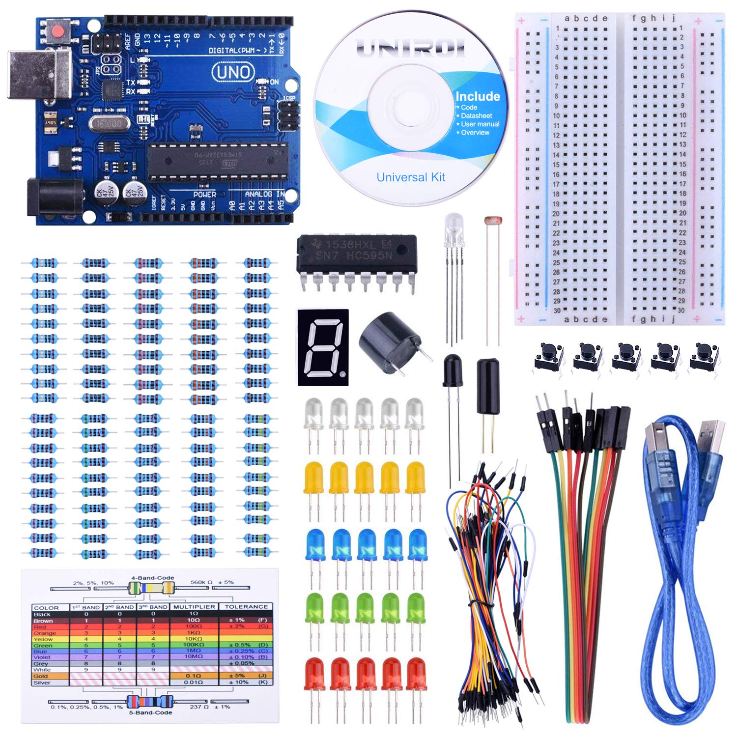 UNIROI 14 in 1 Breadboard Kit with RAB Holder,830 Points Breadboard,DuPont Cable,Jumper Wires for Arduino Uno R3, Mega 2560 & Raspberry Pi 3 Model B, 2 Model B,1 Model B+ RPI Zero W and Zero UA032 (14 in 1 breadboard kit with RAB holder)