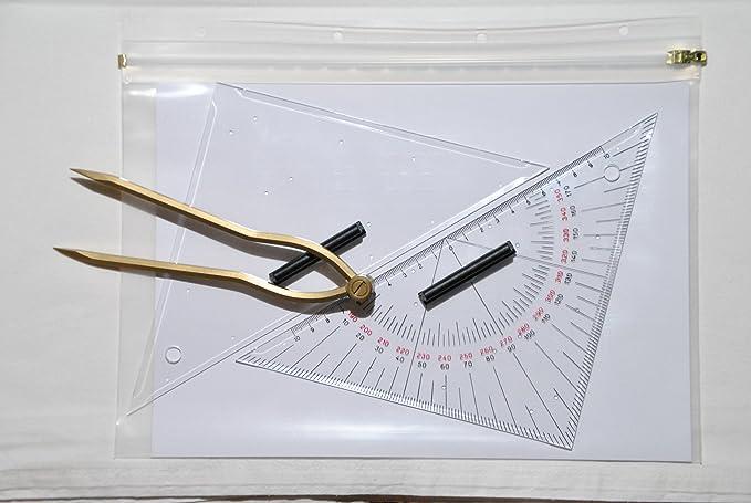 Navigationsset für Ausbildungszwecke 27 cm mit Tasche Navigationsbesteck
