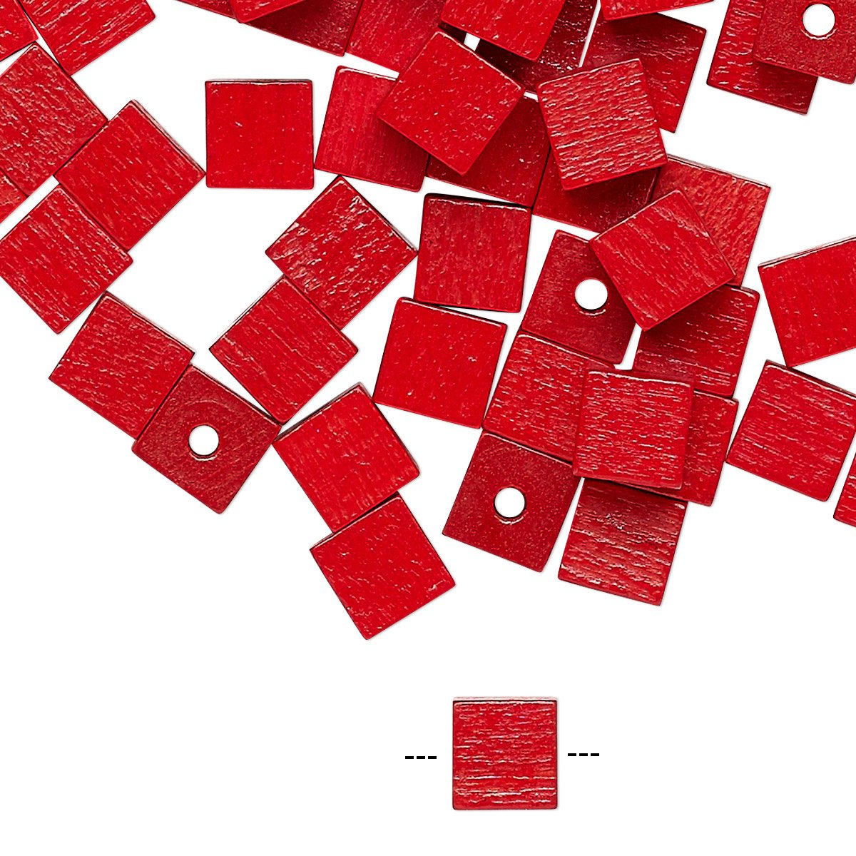 Bead wood (dyed / coated) red 6x6mm cube