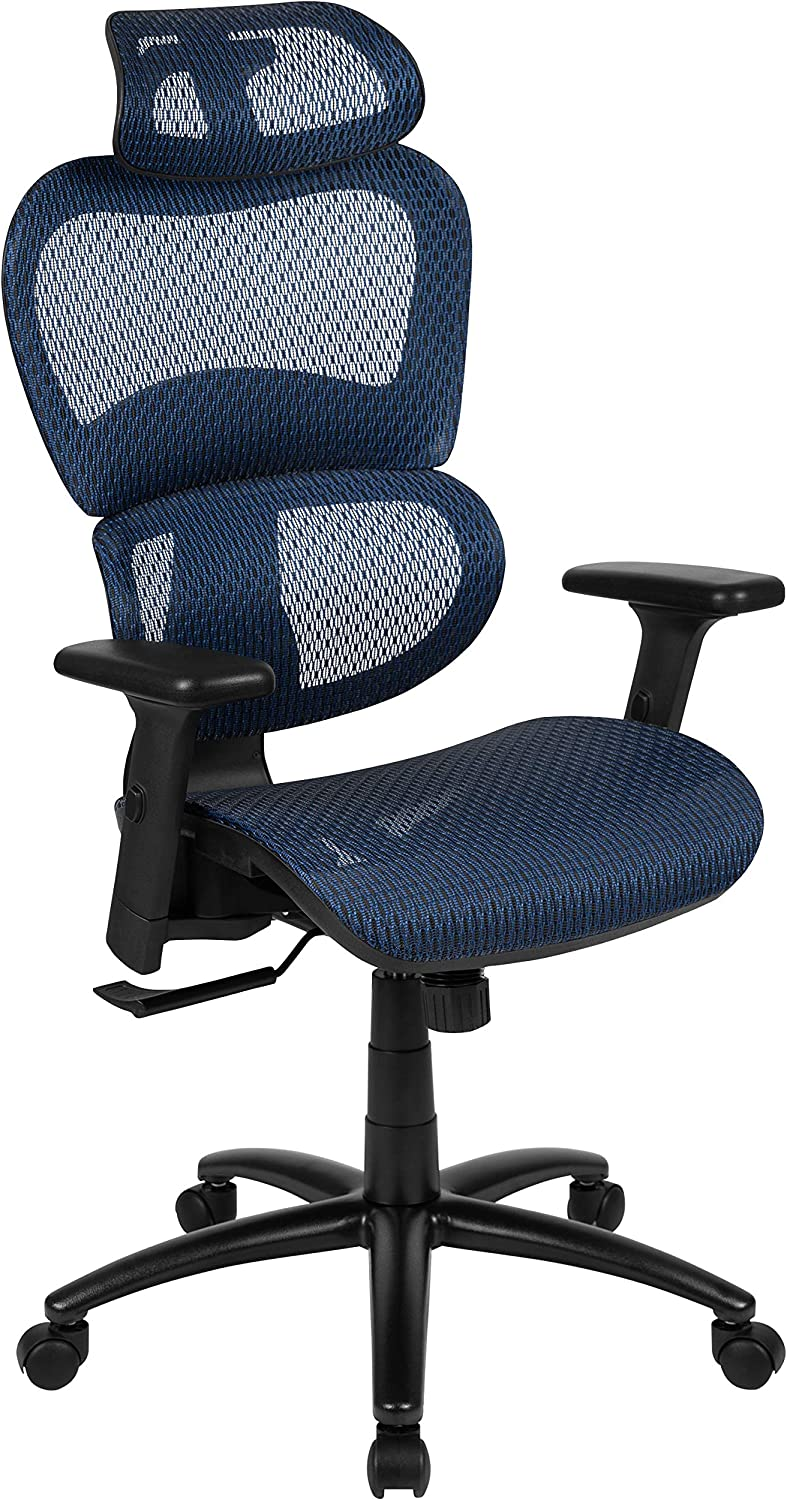 Flash Furniture Ergonomic Mesh Office Chair with 2-to-1 Synchro-Tilt, Adjustable Headrest, Lumbar Support, and Adjustable Pivot Arms in Blue