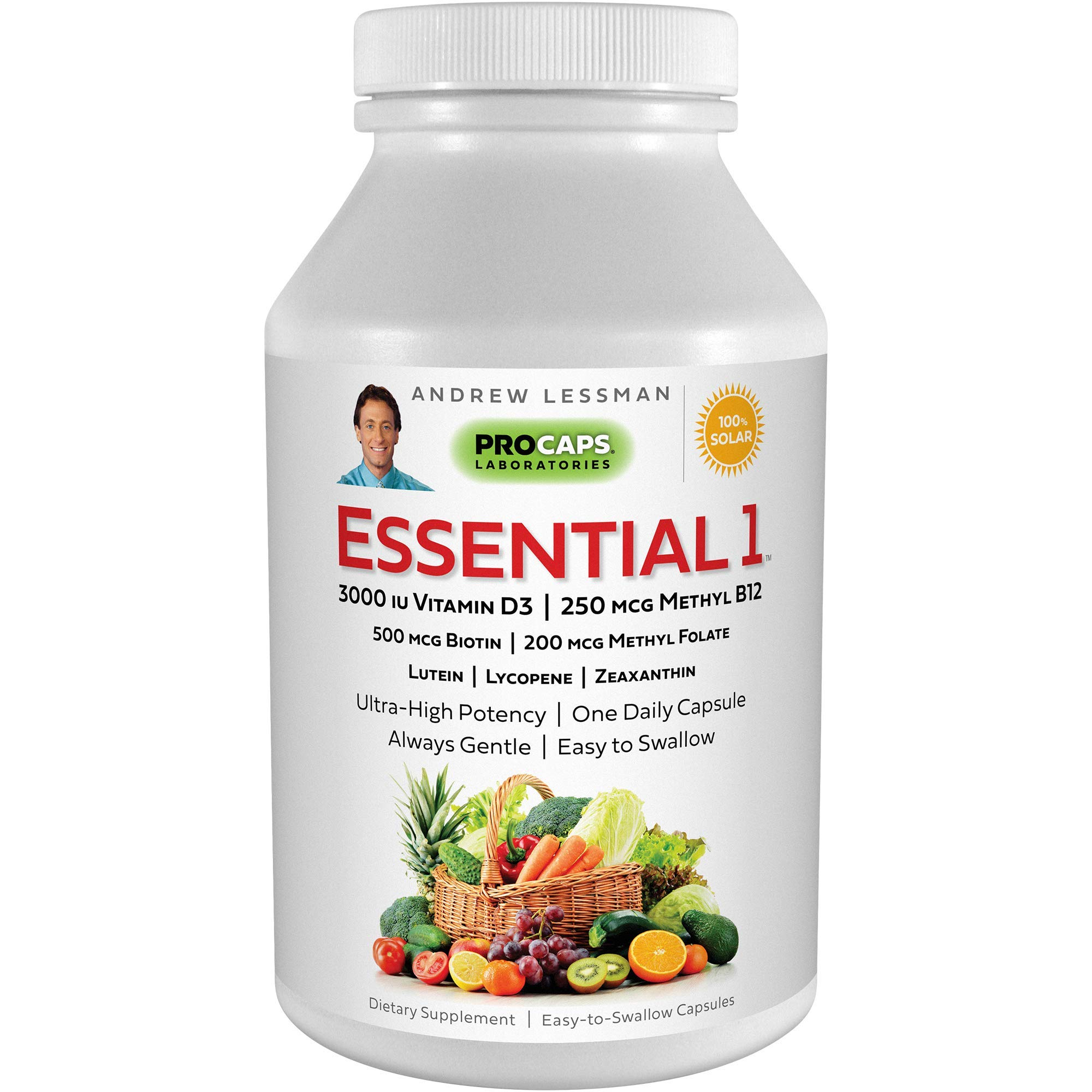 Andrew Lessman Essential-1 Multivitamin 3000 IU Vitamin D3 180 Small Capsules – 250 mcg Methyl B12. Lutein Lycopene Zeaxanthin. 24+ Nutrients. High Potency. No Additives. Ultra-Mild Only One Cap Daily
