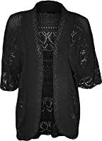 New Ladies Knitted Crochet Short Sleeve Bolero Plus Shrug Open Cardigan UK 14-30